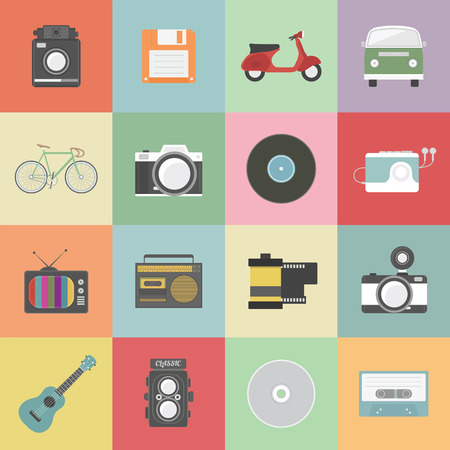 a cartoon film: set of classic icon, hipster gadget, vecter illustration