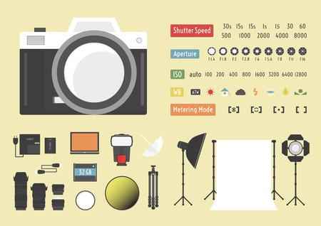 photography studio: camera infographic, hybrid photography,  studio kit, other accessories