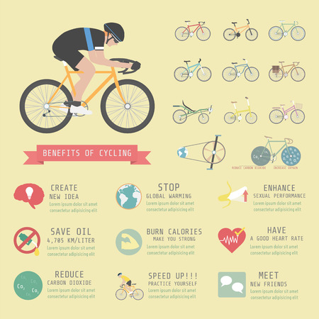 benefits of cycling bicycle, infographic, flat style
