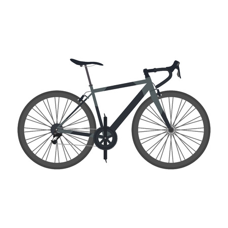 road bike: black road bike isolated on white background, flat style