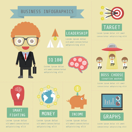 marketting: business infographic, money, financial, marketting, flat and pastel style