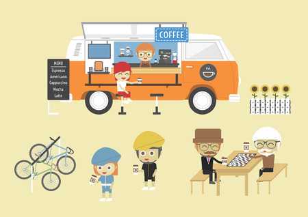 machine shop: Mobile coffee van, hipster lifestyle on street, paste, flat style