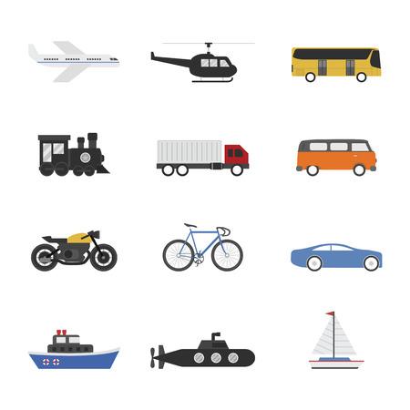 set of vehicle icon on white background Vector