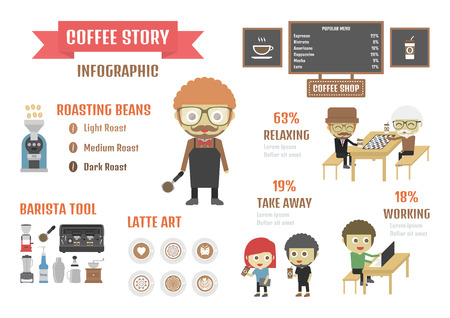 stat: coffee infographic stat and symbol on white background Illustration