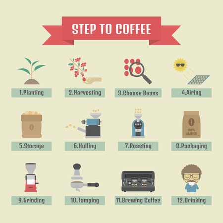 coffee beans background: step by step, from beans to cup, coffee infographic, flat icon Illustration