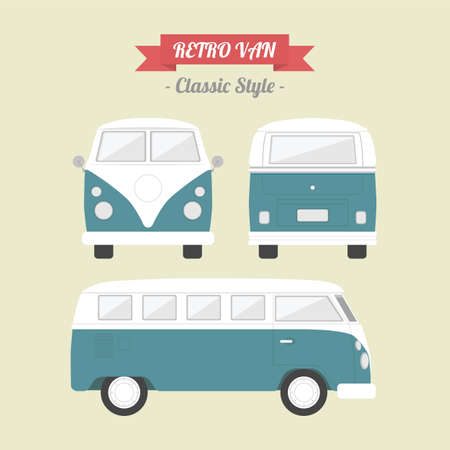 cartoon truck: van cl�sico, estilo retro