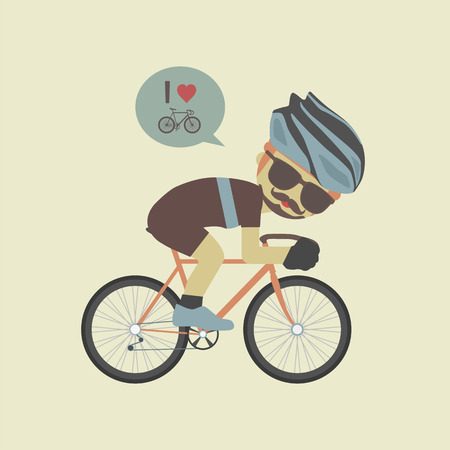 hipster cyclist, flat and pastel style Illustration