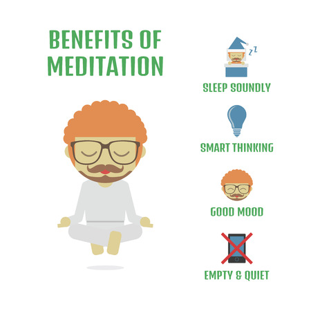 meditation isolated white: relax activitiy, the way of Zen, isolated on white background Illustration
