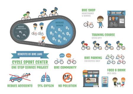 contaminacion del aire: centro de deportes de ciclo, a una parada infograf�a proyecto de servicio, aislado en fondo blanco