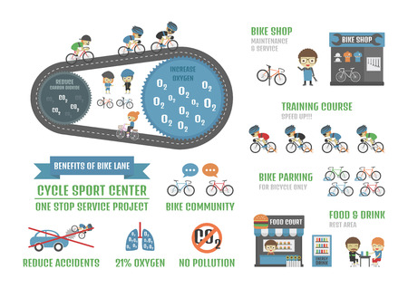 cycle sport center, one stop service  project infographic, isolated on white background Illustration