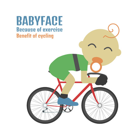 road bike: babyface cyclist because of exercise