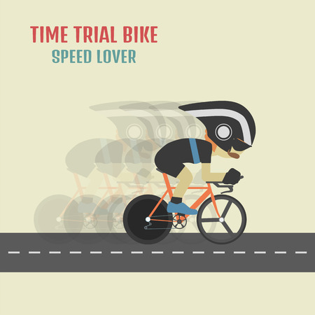 hipster cyclist on time trial bike, flat and pastel style