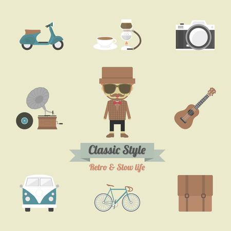 vespa piaggio: gadget hipster, retr� e stile vintage Vettoriali