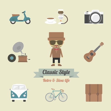a cartoon film: hipster gadget, retro and vintage style