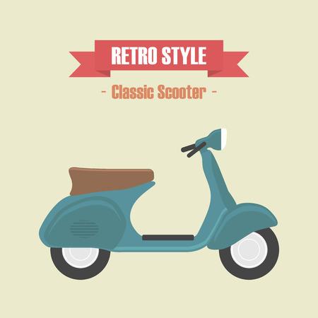 retro blue scooter, vintage style Ilustração