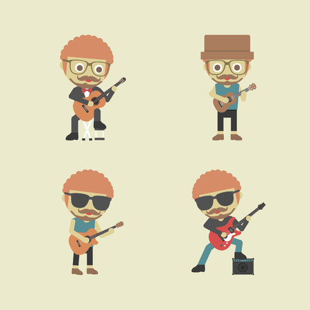 string instrument: type of guitarist, retro and pastel style Illustration