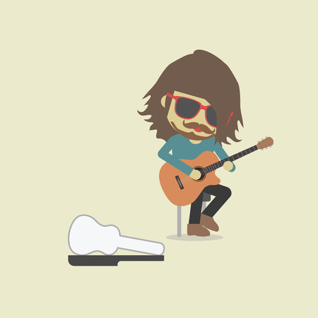 sunglasses cartoon: music show on street, pastel style Illustration