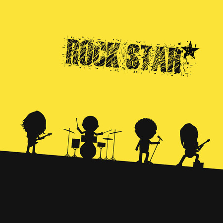 cartoon stars: silhouette rock band on stage Illustration