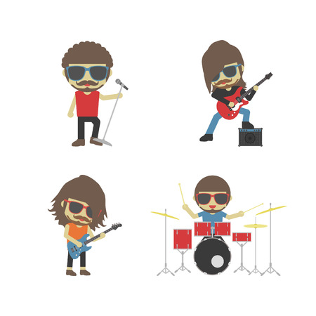 sunglasses cartoon: band of musician, isolated on white background Illustration