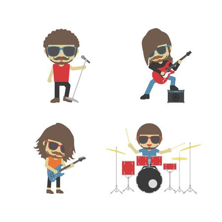 concierto de rock: banda del músico, aislado en fondo blanco