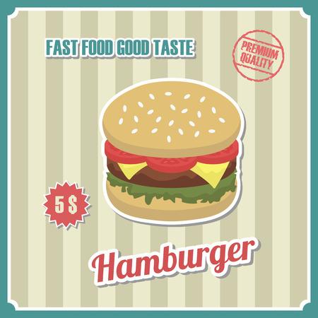 cartoon menu: Vintage burger poster with price tag, retro style Illustration