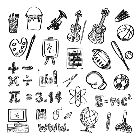 freehand drawing: set of school icon, freehand drawing Illustration