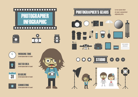 digital camera: photographer infographic, set of tool icon, retro style
