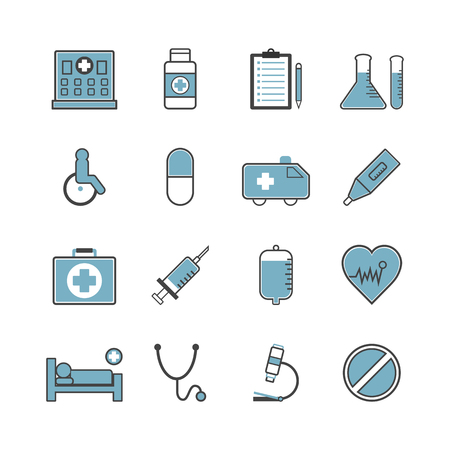red stethoscope: set of hospital icon, isolated on white background