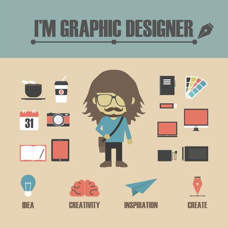 gadget: set of graphic designers equipment, retro style