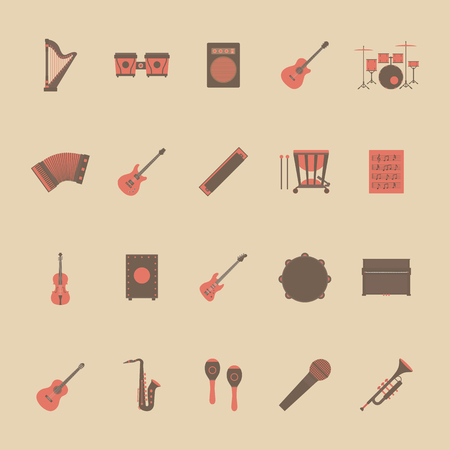 instruments: set of music icon, rock, acoustic, classical music, flat and retro style