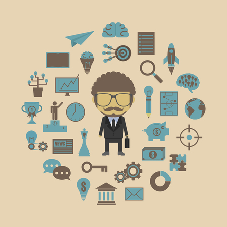 success: businessman with icon, retro and pastel style