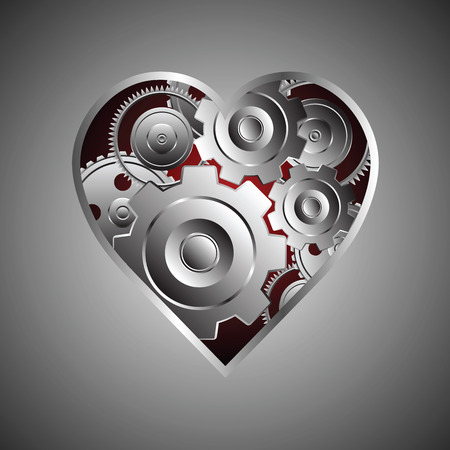 aluminum background: metal gear and coqwheel with heart shape, metaphor concept