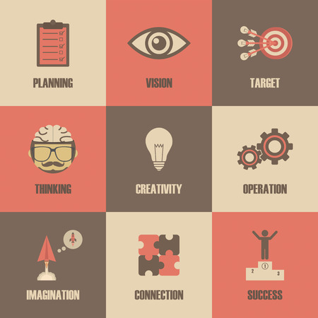 creativity concept: thinking concept icon, metaphor symbol, creativity concept, retro style
