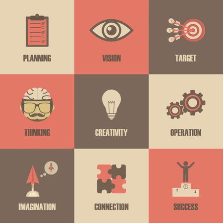 creativity concept: thinking concept icon, metaphor symbol, creativity concept, retro style