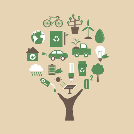 ecological environment: hand with ecological icon, environment concept