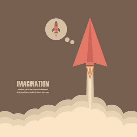 pensamiento creativo: avión de papel lancha al cielo, el concepto de la imaginación