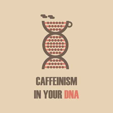 caffeine molecule: coffee beans in DNA, caffeinism