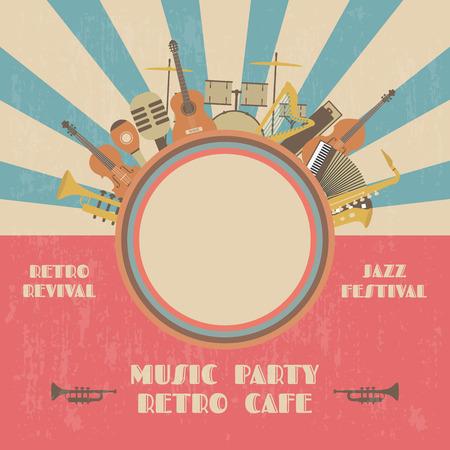 Affiche du festival de jazz de grunge, rétro renaissance Banque d'images - 49970934
