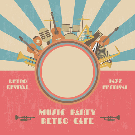 Grunge-Jazz-Festival-Plakat, retro Wiederbelebung