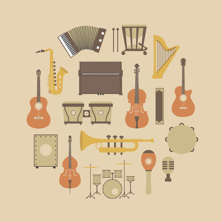 instrumental: set of classical music instrument icon, retro style