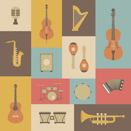 double bass: set of classical music instrument icon, retro style