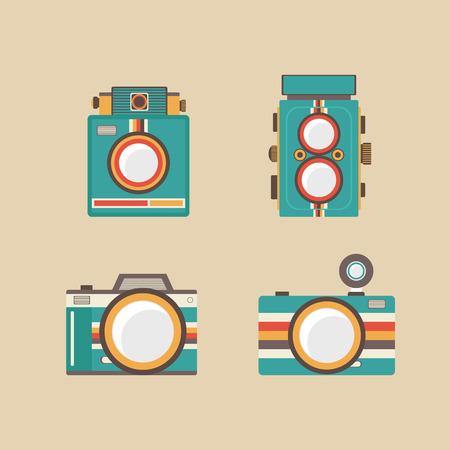 set of retro camera, old style Illustration