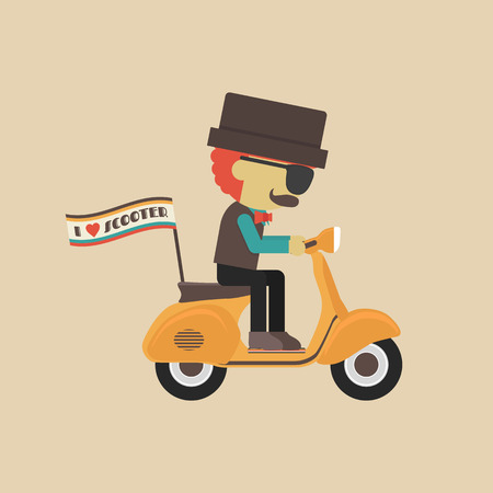 classic motorcycle, retro vehicle with hipster Illustration