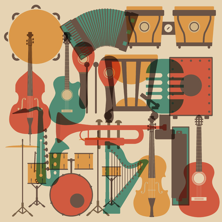 guitar: set of abstract classical music instrument icon, retro style Illustration