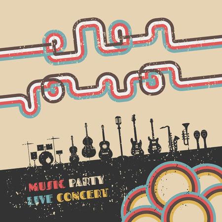 retro revival: grunge music festival poster, retro revival Illustration