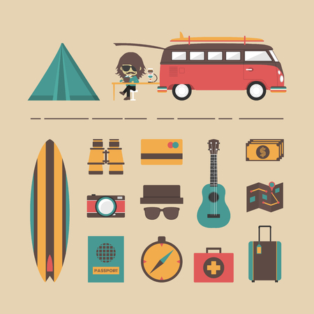 visa credit card: classic van with equipment icon set, retro style