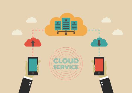server technology: data can transfer to cloud server, communication technology, flat style