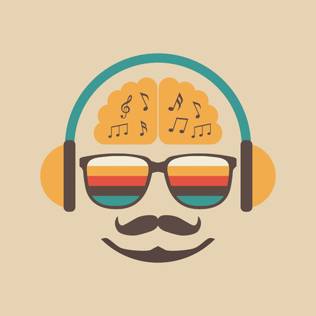 listen to music: hipster listening a song with earphones
