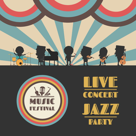 retro revival: music festival poster, retro revival Illustration