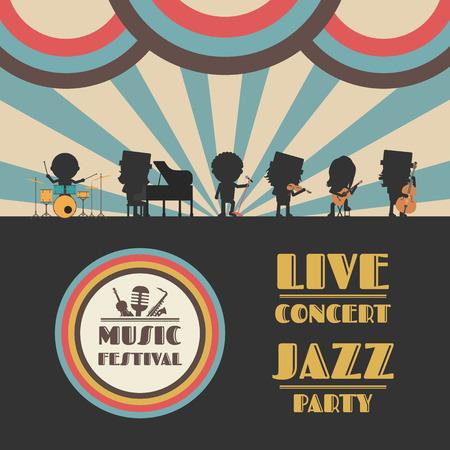 music festival poster, retro revival Illustration